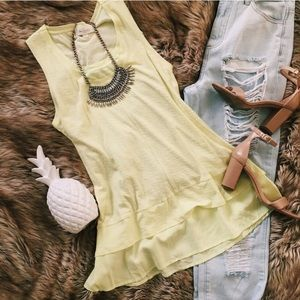 Vince Camuto high low tank NWT pale lime tunic
